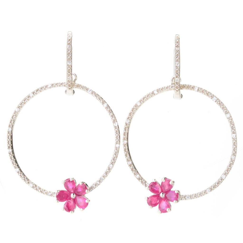 "138-718 - NYC II 1.75"" Gemstone Flower & White Zircon Circle Drop Earrings"