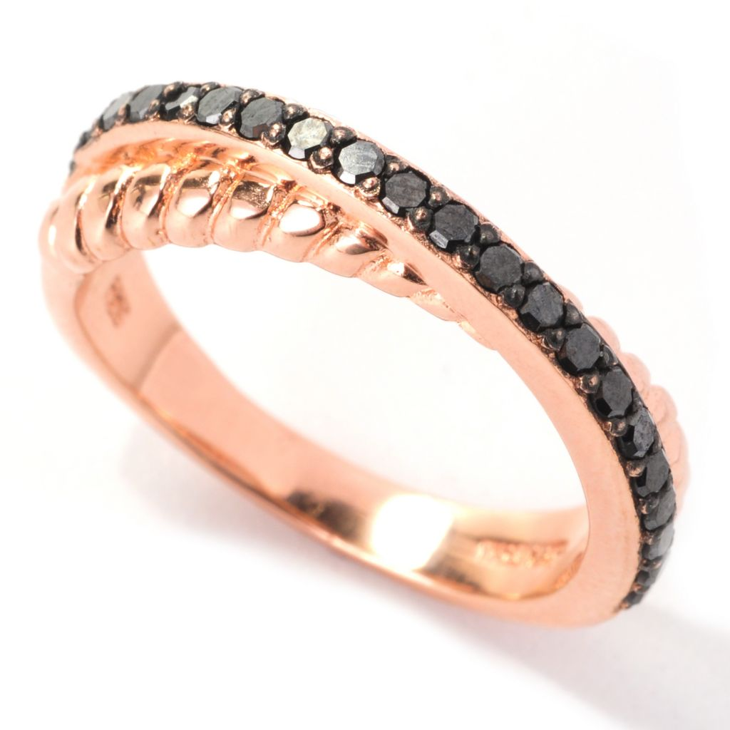 138-721 - Diamond Treasures 14K Rose Gold Embraced™ 0.40ctw Black Diamond Ring