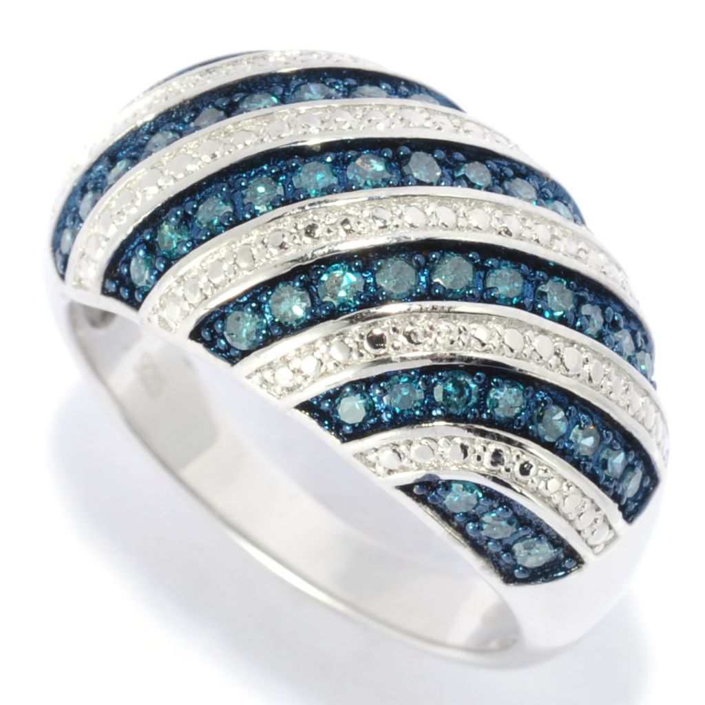 138-722 - Diamond Treasures Sterling Silver 0.50ctw Blue Diamond Diagonal Dome Ring