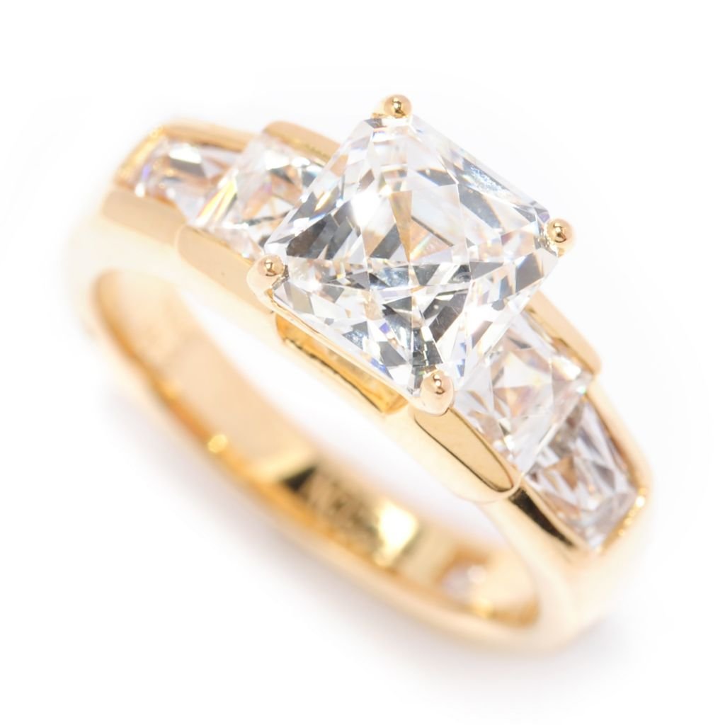 138-723 - TYCOON 18K Gold Embraced™ 3.12 DEW Square Simulated Diamond Five-Stone Ring