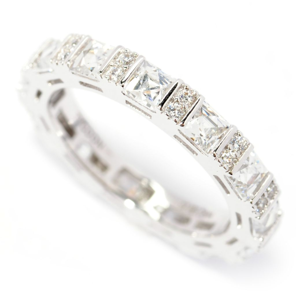 138-724 - TYCOON 2.42 DEW Square TYCOON CUT Simulated Diamond Eternity Band Ring