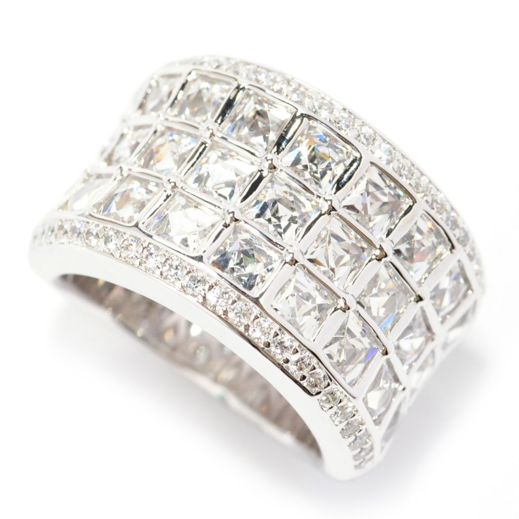 138-726 - TYCOON Platinum Embraced™ 5.34 DEW Square & Round Simulated Diamond Wide Band Ring