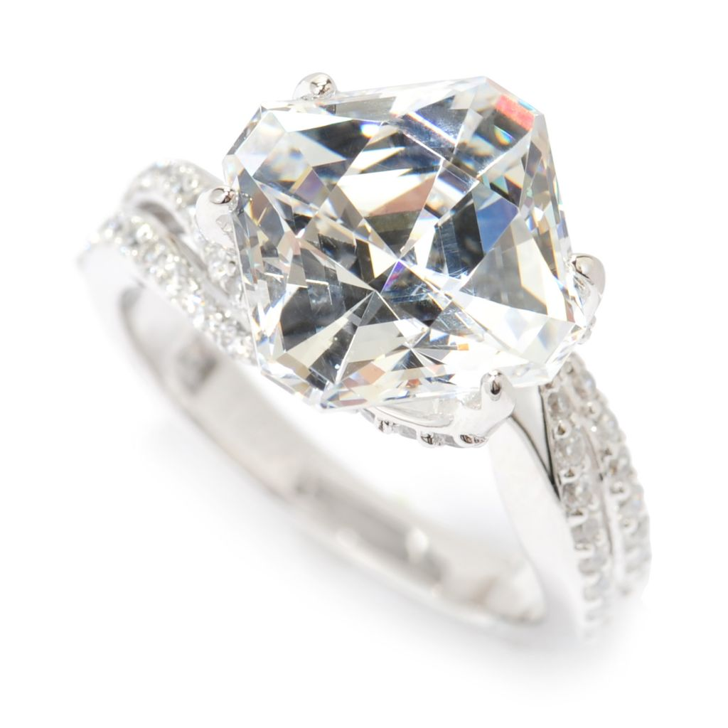 138-727 - TYCOON Platinum Embraced™ 6.30 DEW Square Simulated Diamond Split Shank Ring