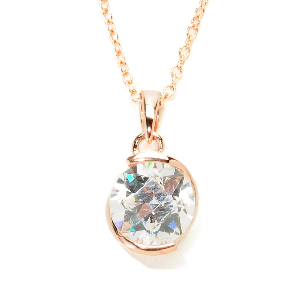 138-729 - TYCOON 2.52 DEW TYCOON CUT Simulated Diamond Kissing Stones Pendant w/ Chain