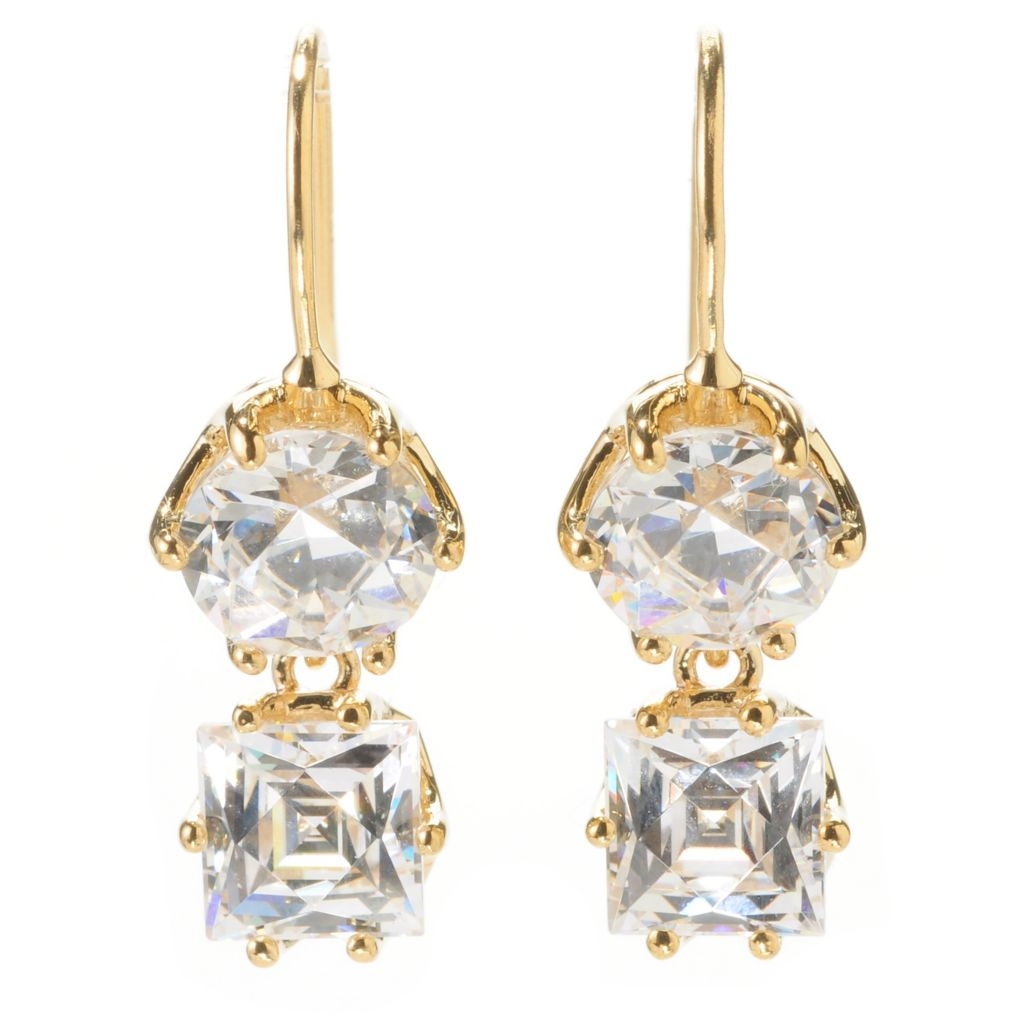 "138-730 - TYCOON 1"" 5.08 DEW Round & Square Simulated Diamond Drop Earrings"