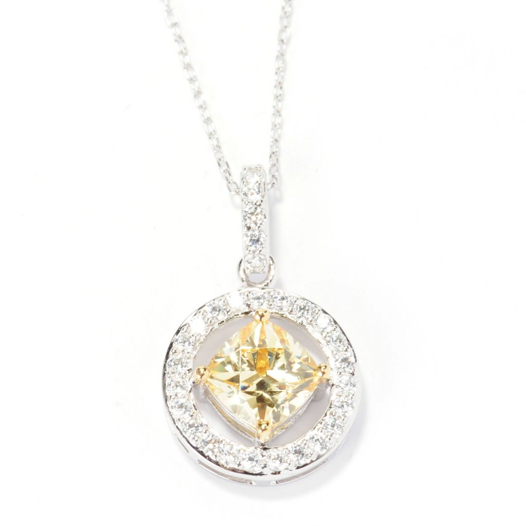 138-732 - TYCOON 2.12 DEW Yellow & White Simulated Diamond Halo Pendant