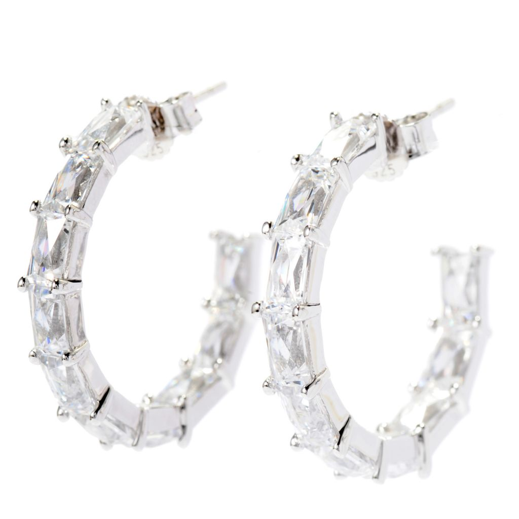 "138-733 - TYCOON 1"" 5.24 DEW TYCOON CUT Simulated Diamond C-Hoop Earrings"