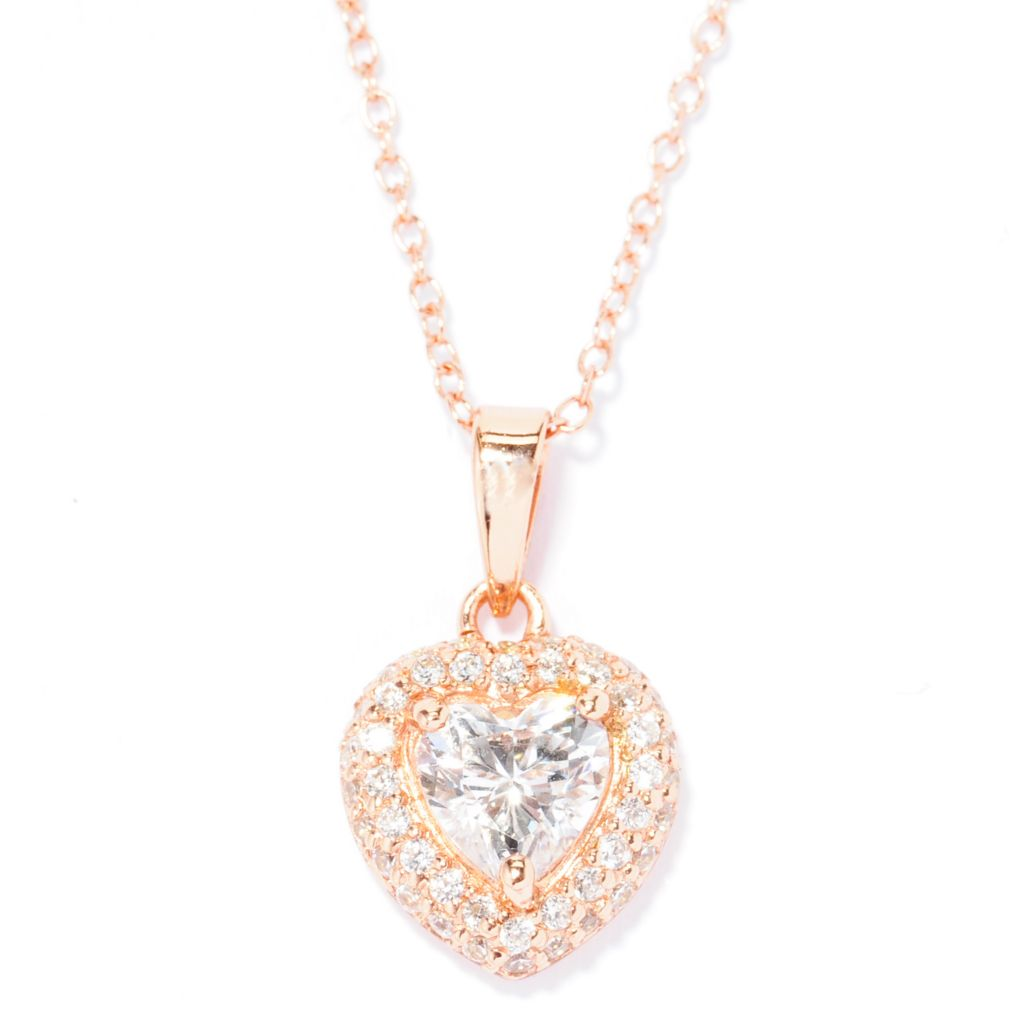 138-735 - Brilliante® 14K Rose Gold Embraced™ 1.14 DEW Simulated Diamond Heart Pendant