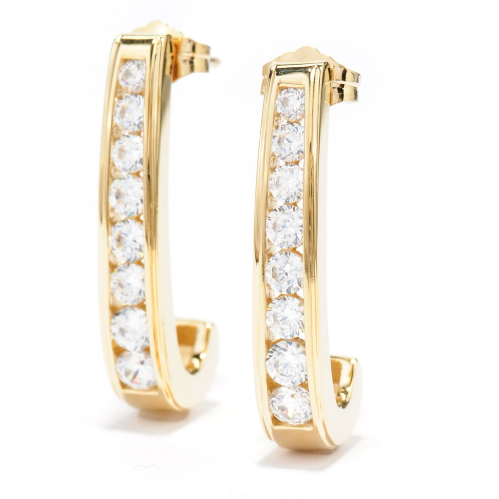 "138-738 - Brilliante® 18K Gold Embraced™ 1"" 1.20 DEW Simulated Diamond J-Hoop Earrings"