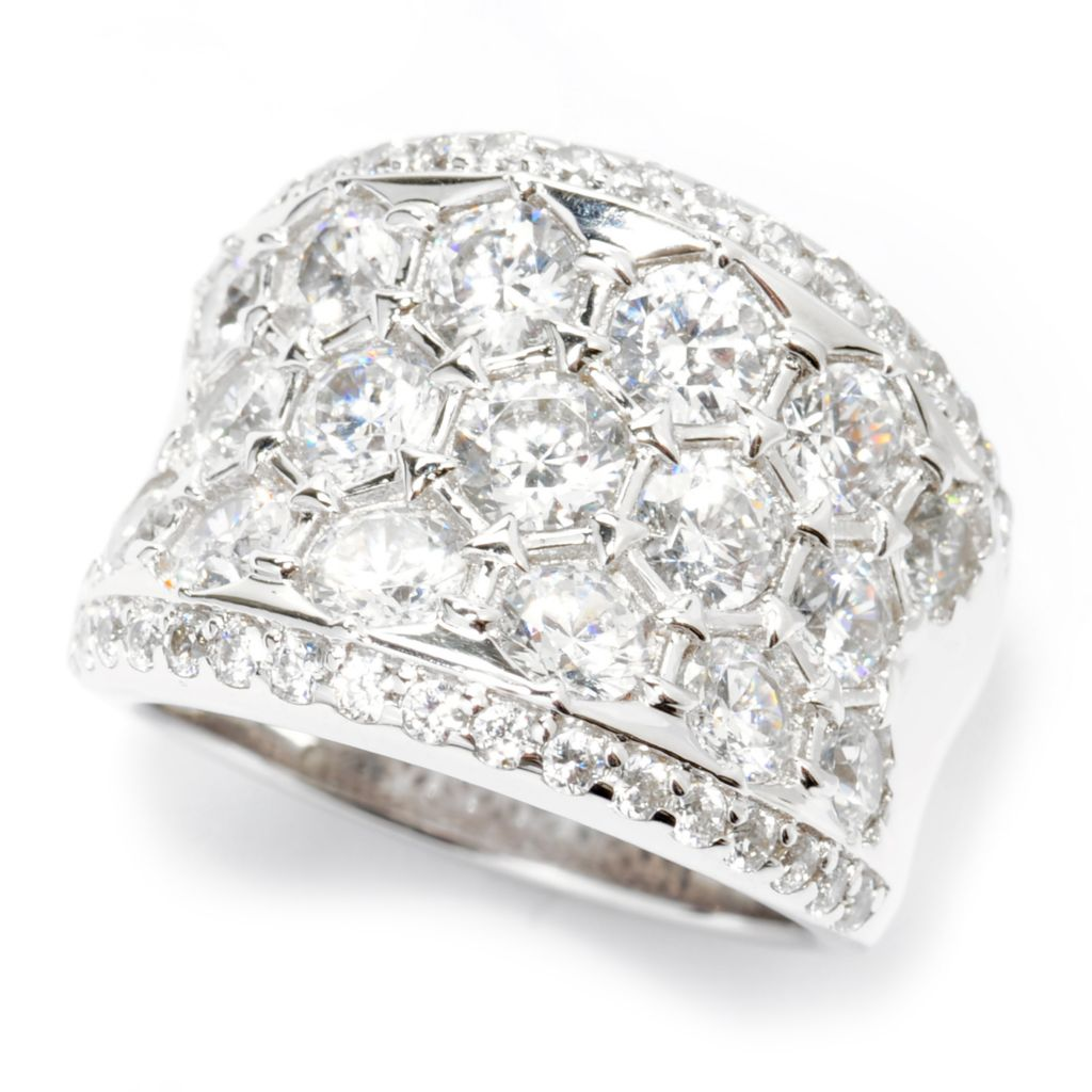 138-739 - Brilliante® Platinum Embraced™ 3.42 DEW Simulated Diamond Multi Stone Wide Band Ring