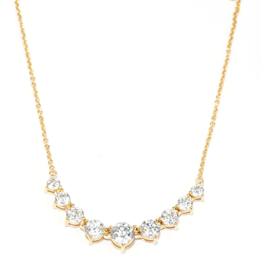 "138-740 - Brilliante® 18"" 18K Gold Embraced™ 3.32DEW 100-Facet Simulated Diamond 9-Stone Necklace"