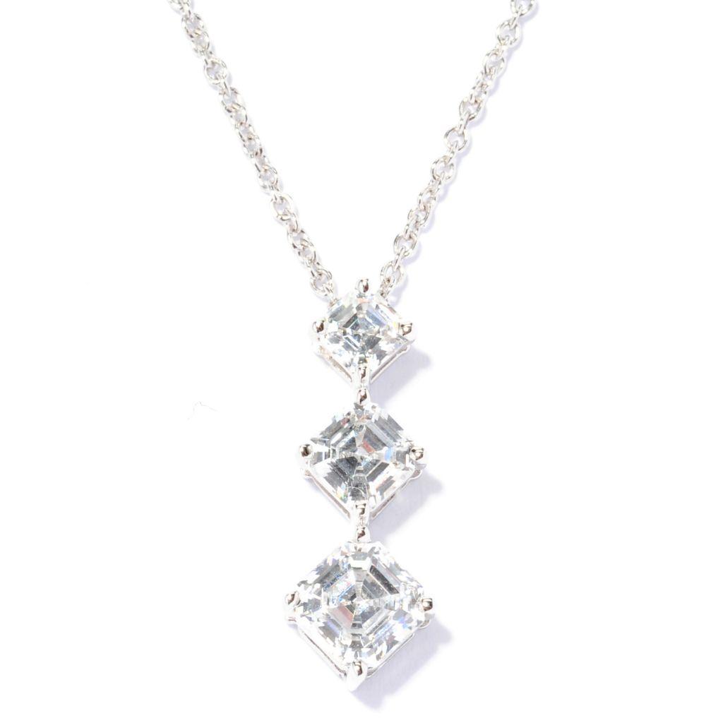 138-741 - Brilliante® Platinum Embraced™ 2.34 DEW Square Simulated Diamond 3-Stone Pendant
