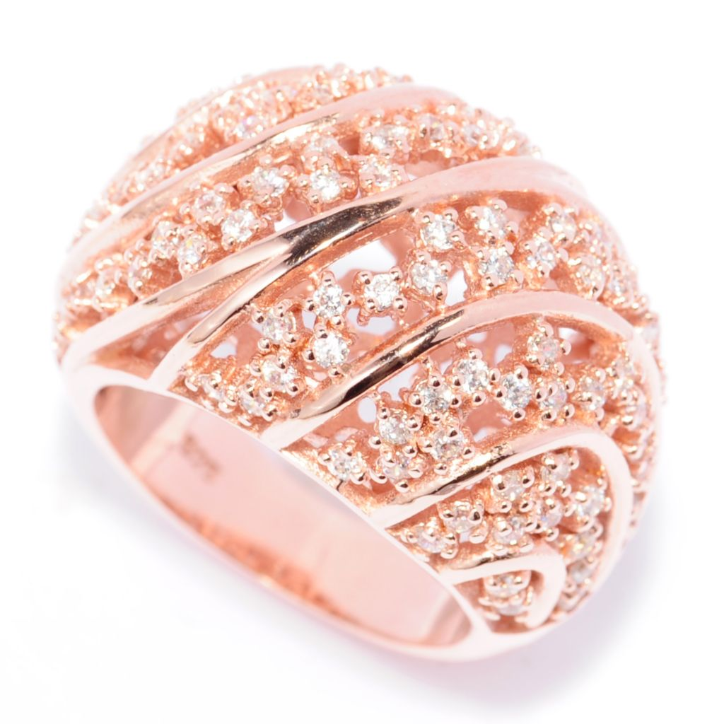 138-742 - Brilliante® 18K Rose Gold Embraced™ 1.49 DEW Simulated Diamond Dome Ring