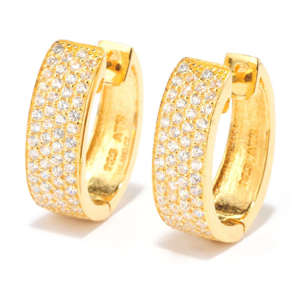 138-744 - Brilliante® Pave Set Simulated Diamond Four-Row Huggie Hoop Earrings