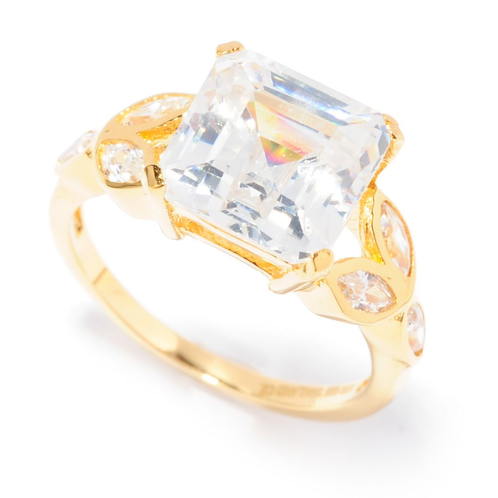138-745 - Brilliante® 18K Gold Embraced™ 4.60 DEW Simulated Diamond Asscher Cut Ring