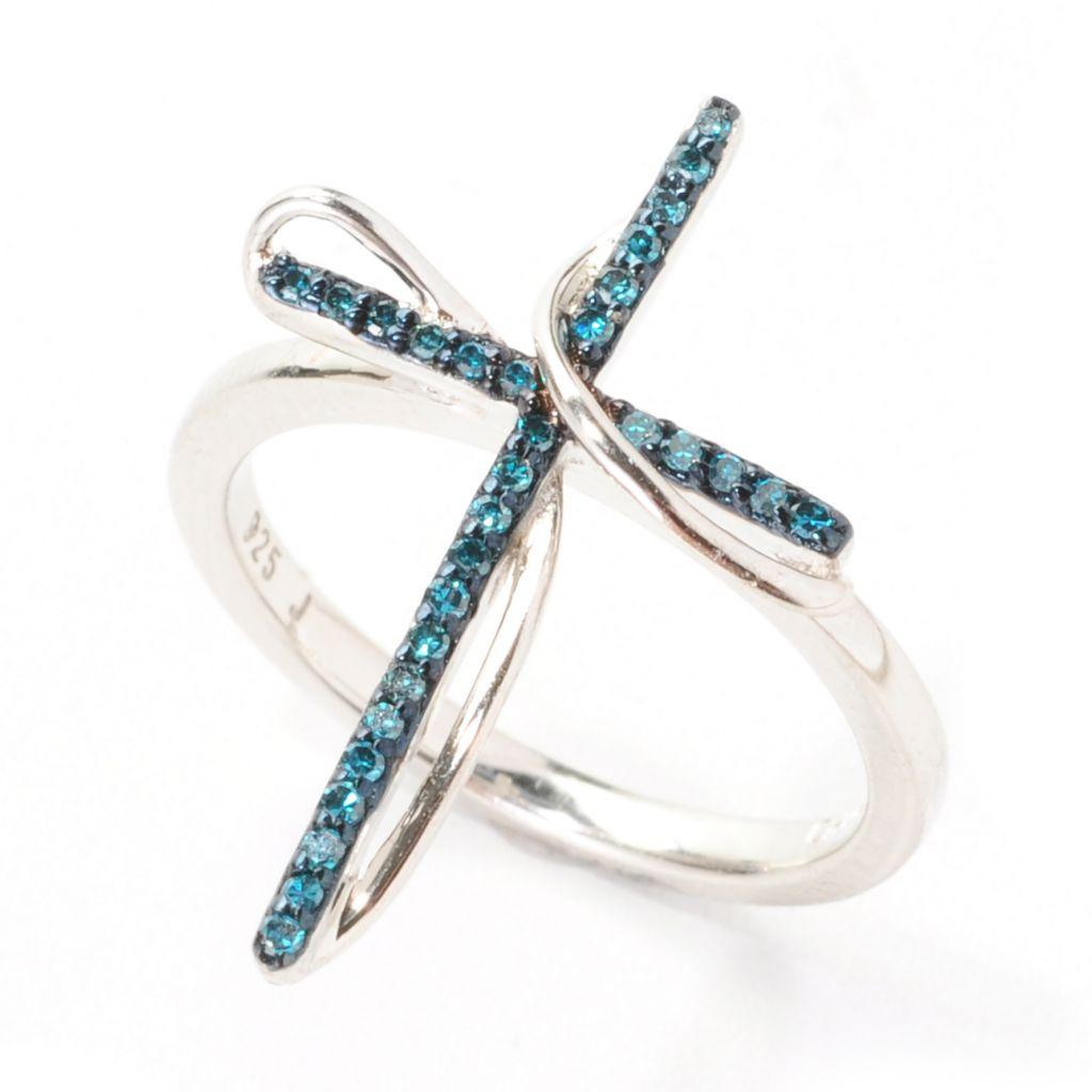 138-748 - Diamond Treasures Sterling Silver 0.15ctw Blue Diamond Cross Band Ring