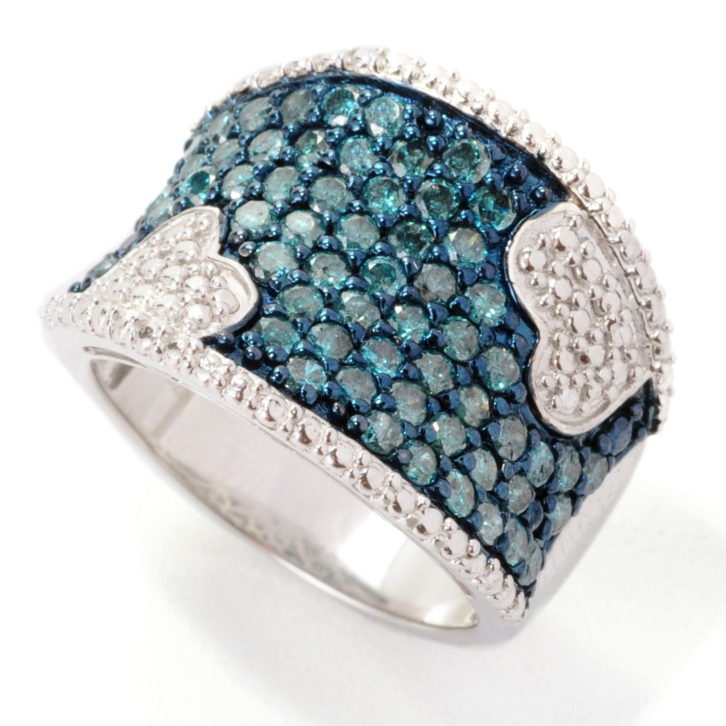 138-750 - Diamond Treasures Sterling Silver 1.50ctw Fancy Color Diamond Pave Heart Ring