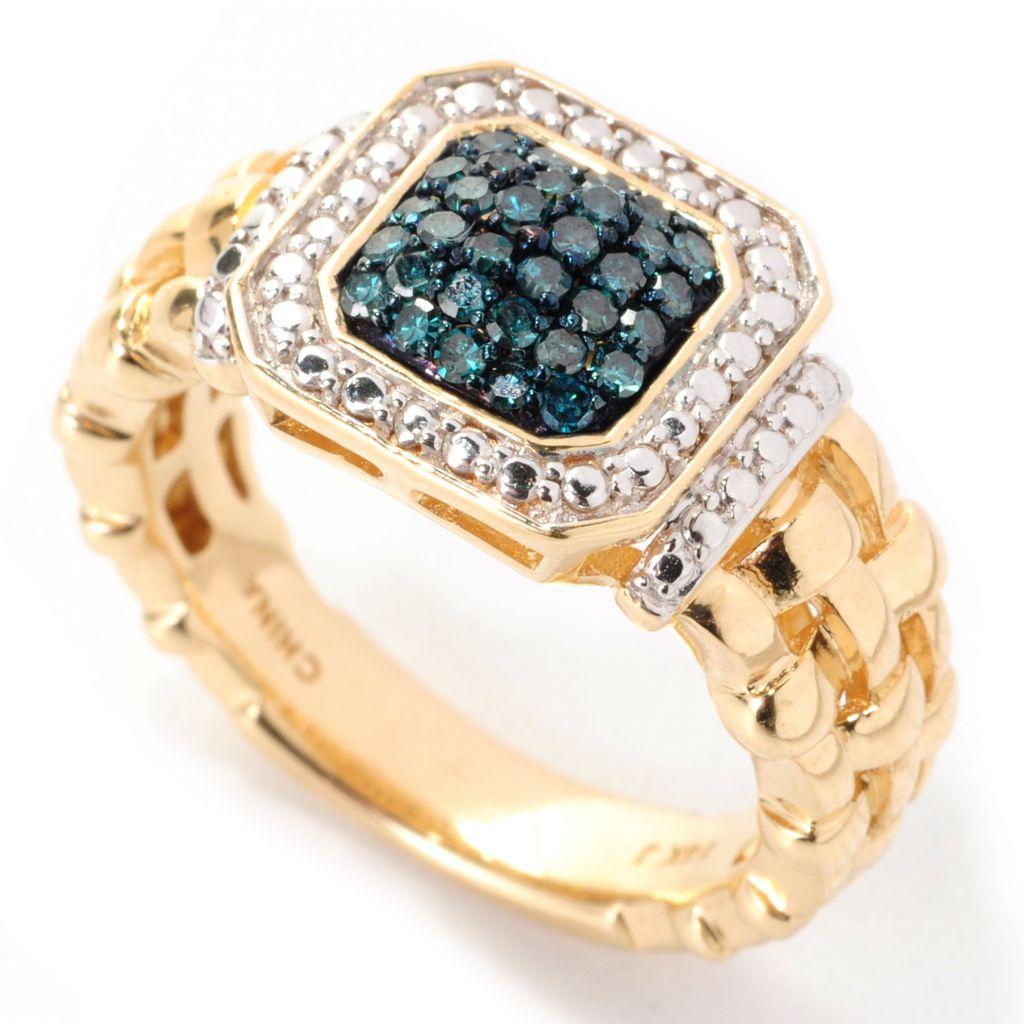 138-751 - Diamond Treasures 14K Gold 0.29ctw Round Blue Diamond Woven Shank Ring