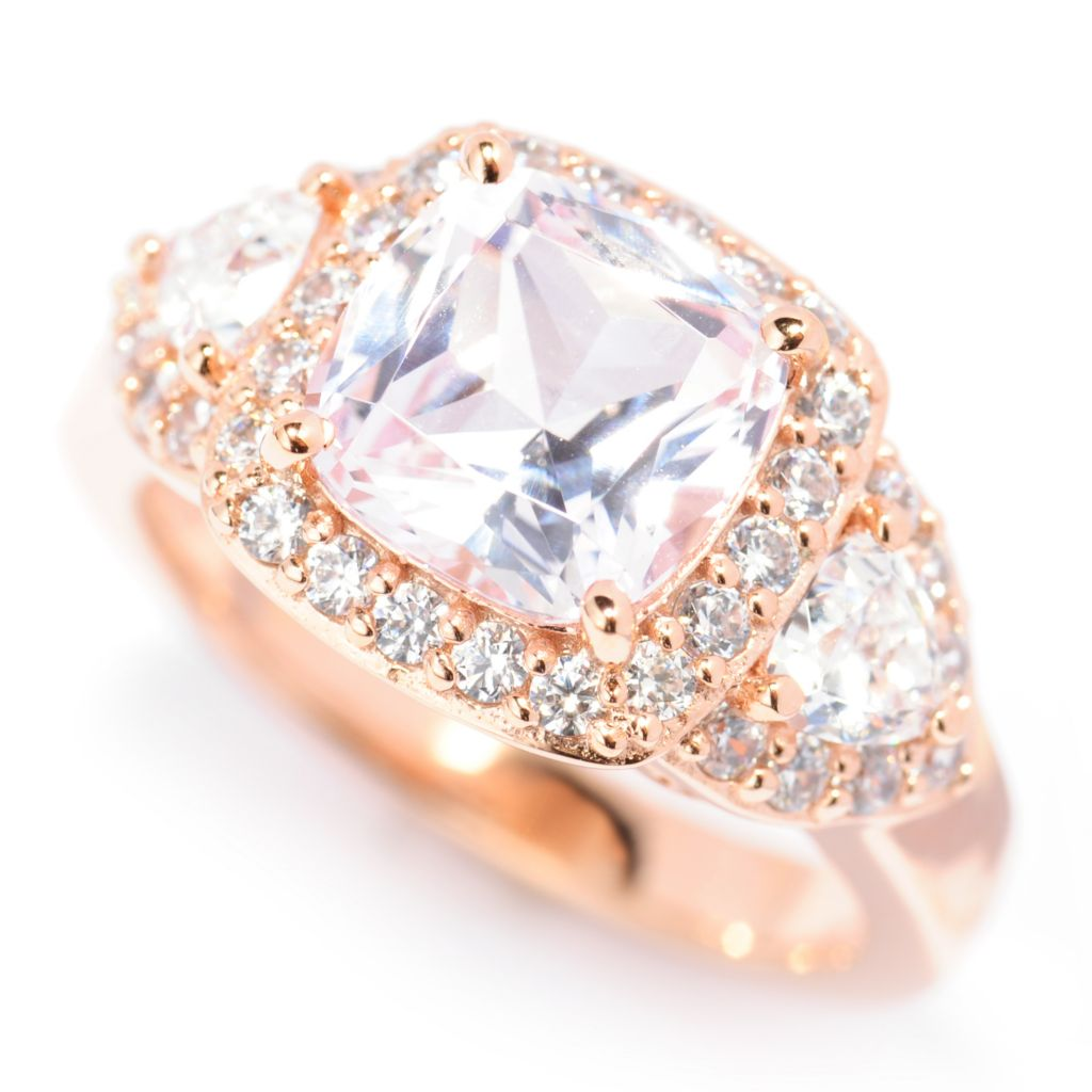 138-752 - Brilliante® 18K Rose Gold Embraced™ Cushion Cut Simulated Morganite Ring