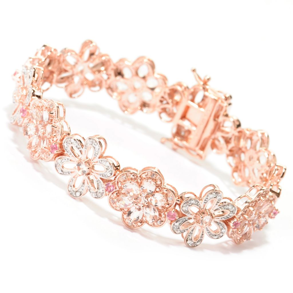 "138-754 - NYC II Morganite, Pink Tourmaline & White Zircon ""Tucson Flower"" Bracelet"