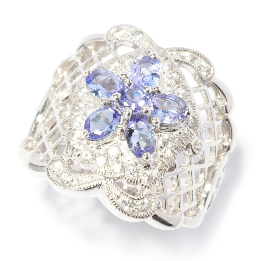 138-756 - NYC II 1.51ctw Tanzanite & White Zircon Flower Cut-out Wide Band Ring
