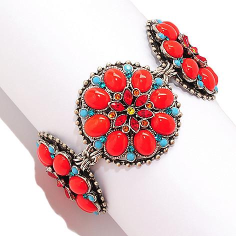 138-763 - FAITH 8'' Multi Color Crystal & Glass Floral Panel Toggle Bracelet