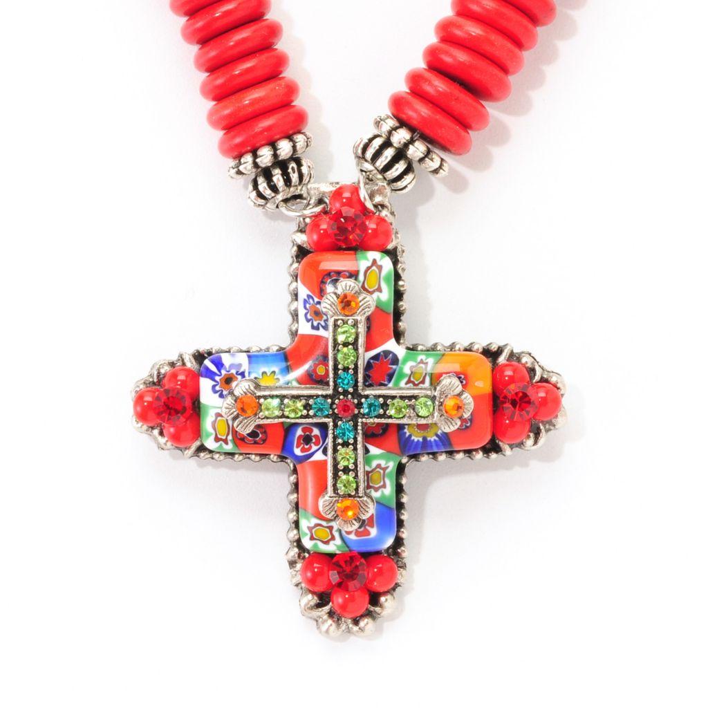 """138-764 - FAITH 17"""" Multi Color Crystal & Gemstone Disk Beaded Cross Necklace"""