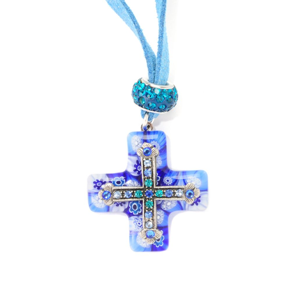 """138-766 - FAITH 17"""" Multi Color Crystal Cross Necklace w/ Beaded 2"""" Extender"""