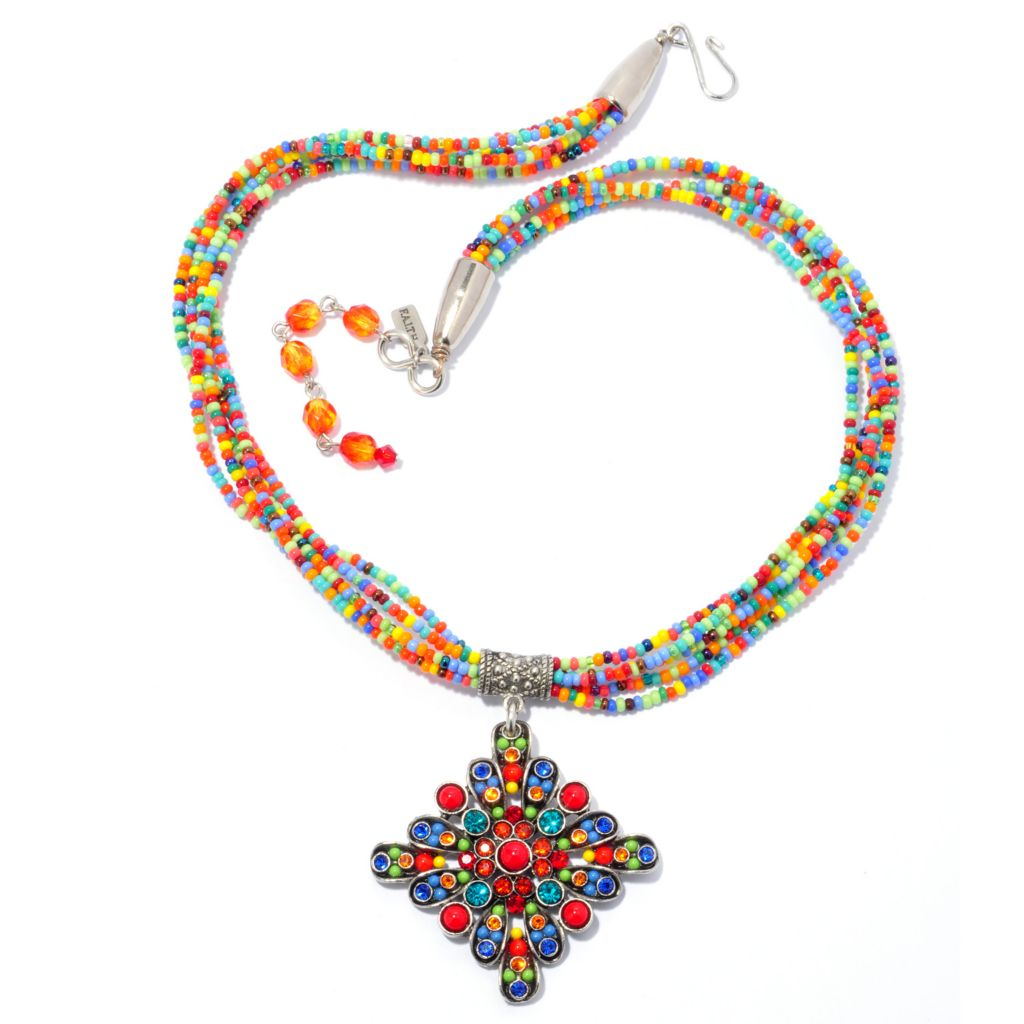 "138-768 - FAITH 17"" Multi Color Crystal & Bead Multi Strand Medallion Necklace"