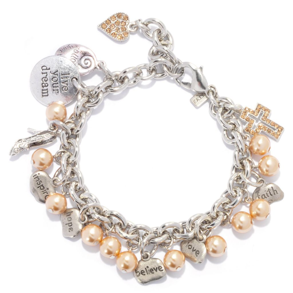 "138-770 - FAITH 9"" Crystal & 8mm Simulated Pearl Inspirational Charm Bracelet"