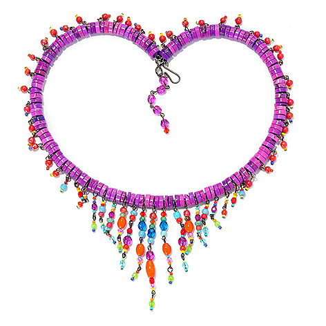 138-771 - FAITH 19'' Simulated Magnesite & Beaded Fringe Wire Necklace
