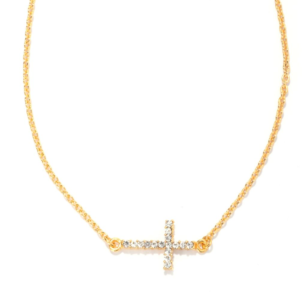 "138-772 - FAITH 16.5"" Crystal Sideways Cross Necklace w/ 2"" Extender"
