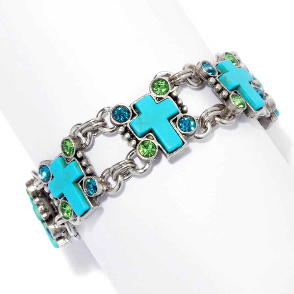 "138-776 - FAITH 7.5"" Crystal Embellished Cross Panel Toggle Bracelet"