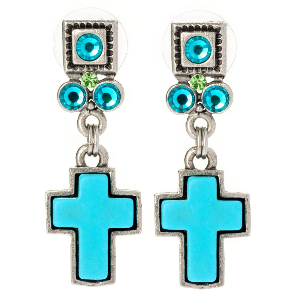 "138-777 - FAITH 1.5"" Crystal Embellished Cross Drop Earrings"