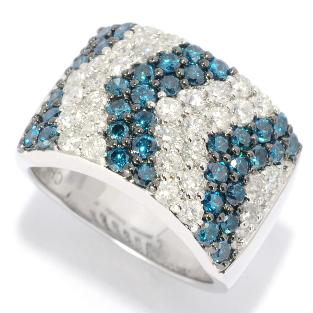 138-778 - Diamond Treasures Sterling Silver 2.00ctw Blue & White Diamond Chevron Band Ring