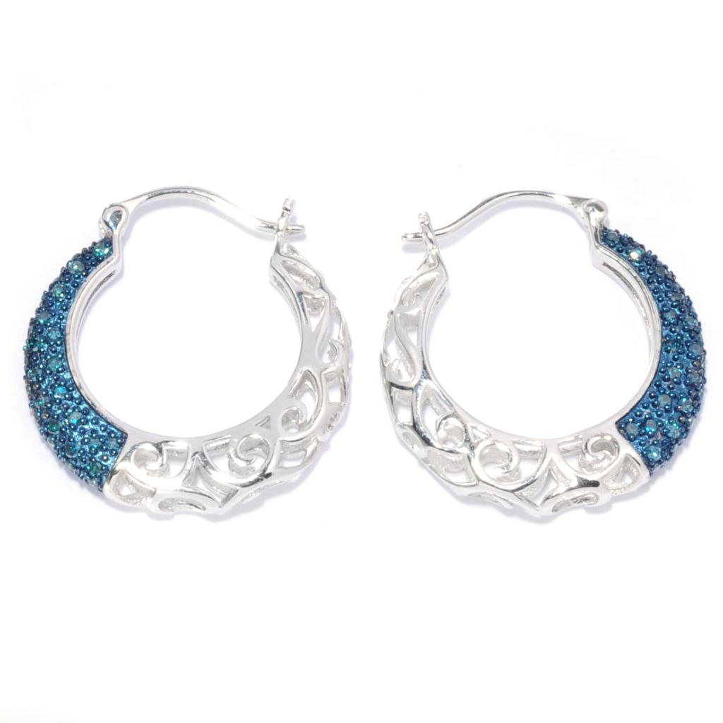 138-779 - Diamond Treasures Sterling Silver 0.50ctw Fancy Color Diamond Hoop Earrings