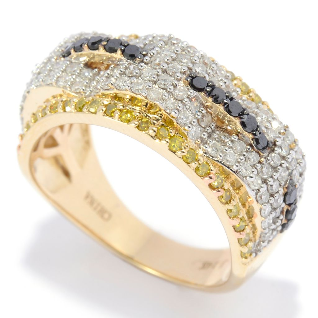 138-782 - Diamond Treasures 14K Gold 1.00ctw Fancy Color Diamond Three-Dome Ring