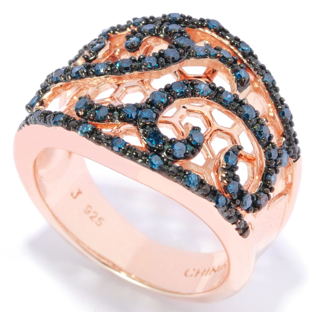 138-784 - Diamond Treasures 14K Gold Embraced™ 0.50ctw Blue Diamond Scrollwork Wide Band Ring