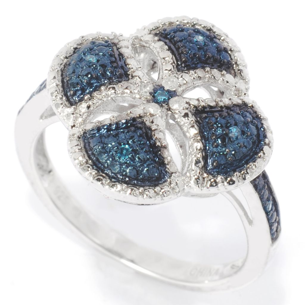 138-785 - Diamond Treasures Sterling Silver 0.05ctw Blue & White Diamond Cross Band Ring