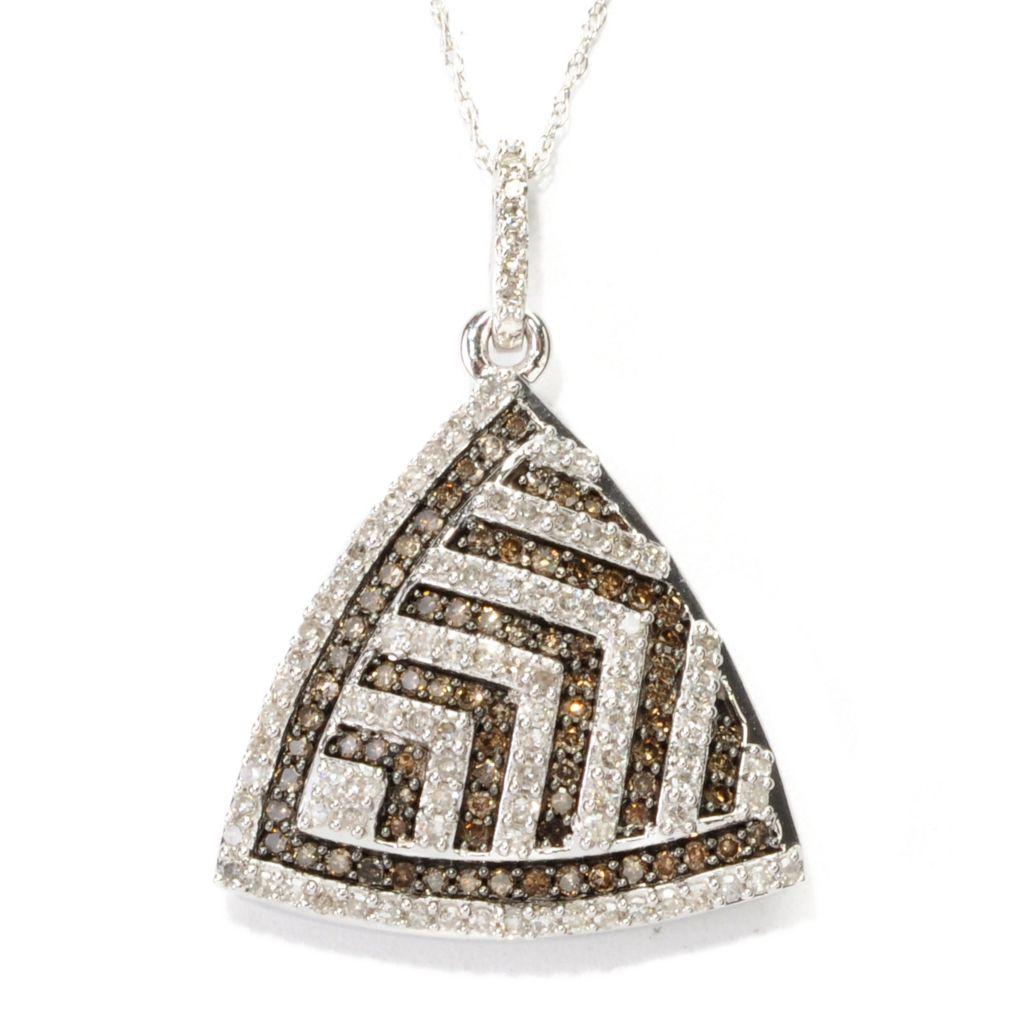 138-788 - Diamond Treasures 14K White Gold 1.00ctw White & Champagne Diamond Triangle Pendant