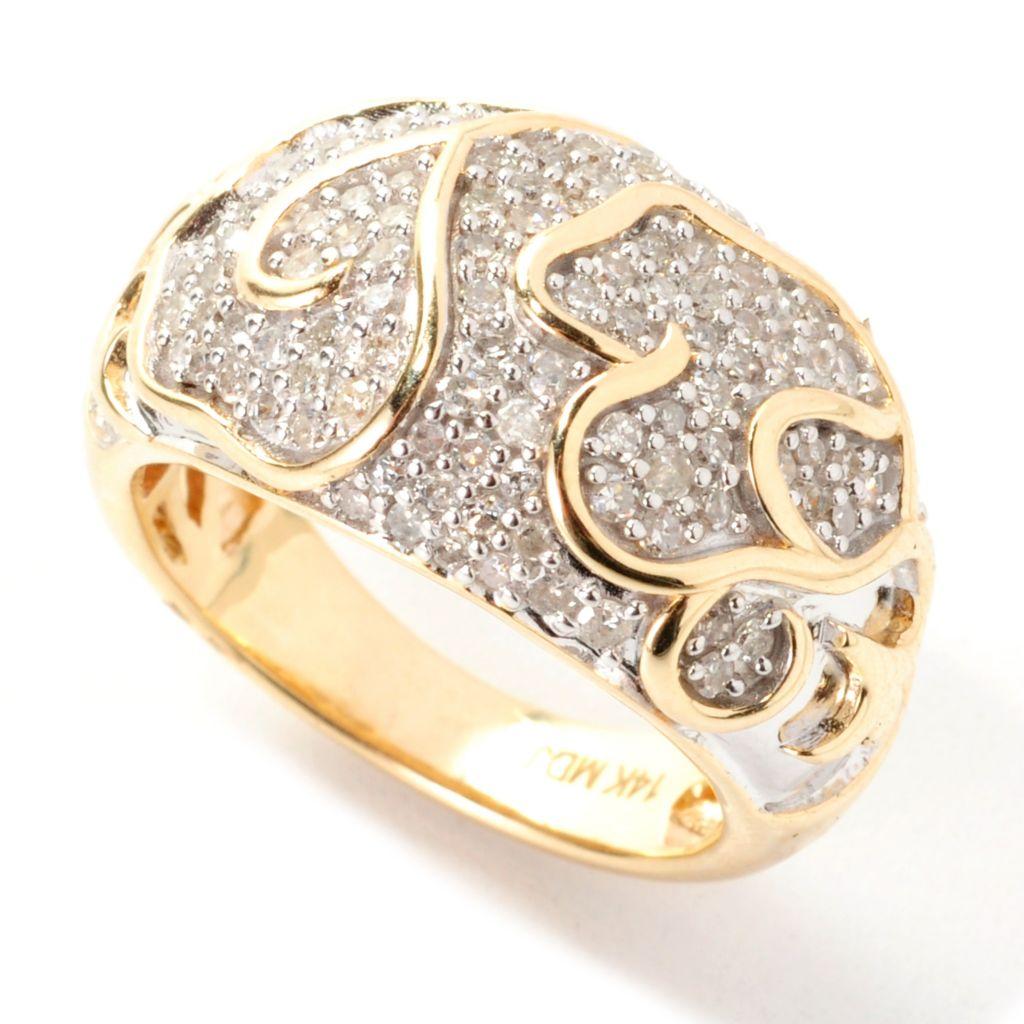 138-789 - Diamond Treasures 14K Gold 0.78ctw Diamond Swirl Overlay Dome Band Ring