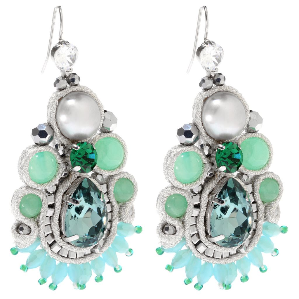 "138-805 - RUSH 2.75"" 10mm Freshwater Cultured Pearl, Jade & Crystal Drop Earrings"