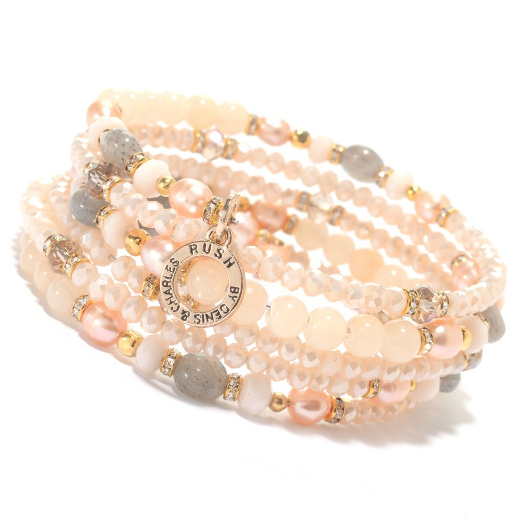 "138-813 - RUSH 7.5"" Crystal, Glass & Gemstone Bead Coiled Bangle Bracelet"