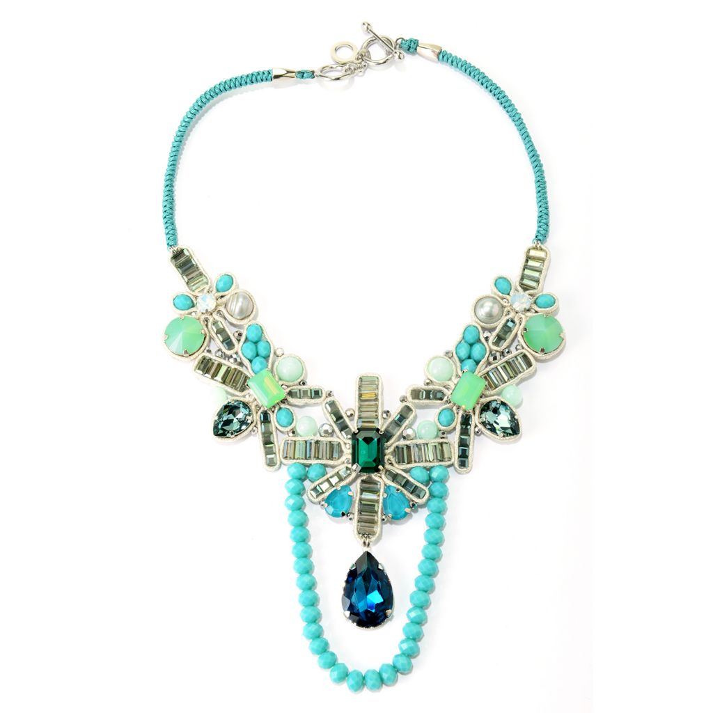 "138-814 - RUSH 18"" Crystal, Glass & Genuine Gemstone Shades of Blue Statement Necklace"