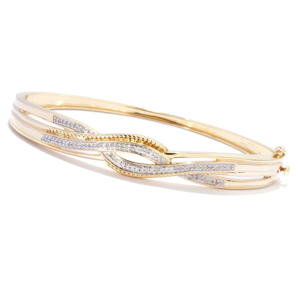 138-826 - Diamond Treasures 14K Gold 0.24ctw Diamond Crossover Oval Bangle Bracelet