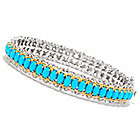 138-829 - Gems en Vogue II Oval Sleeping Beauty Turquoise Hinged Bangle Bracelet