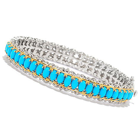 138-829 - Gems en Vogue Sleeping Beauty Turquoise Hinged Bangle Bracelet