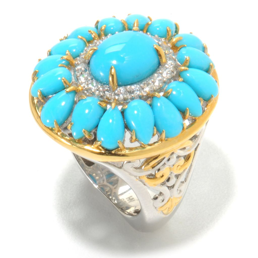 138-833 - Gems en Vogue II Sleeping Beauty Turquoise & White Zircon Double Halo Ring