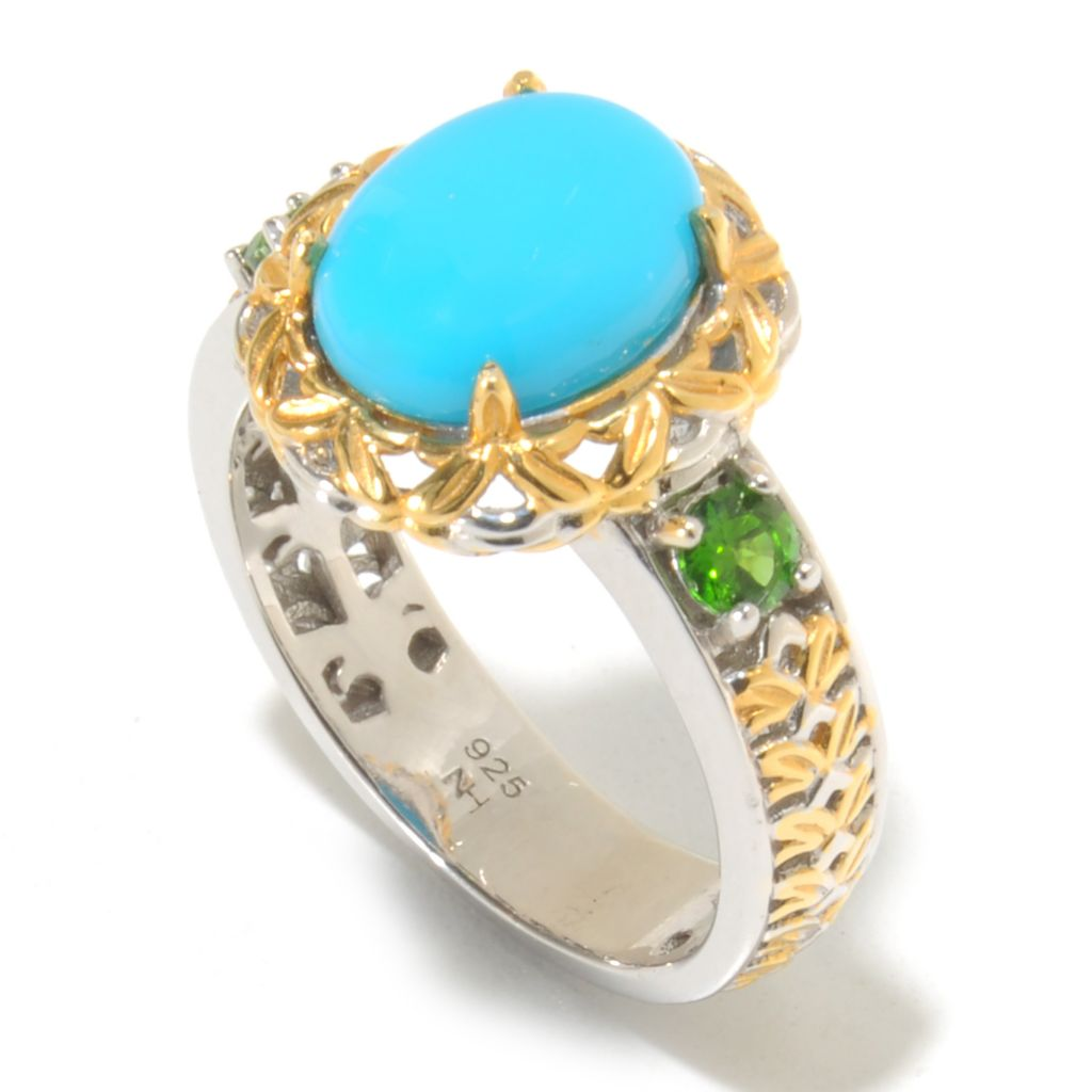 138-834 - Gems en Vogue II 10 x 8mm Oval Sleeping Beauty Turquoise & Gemstone Ring