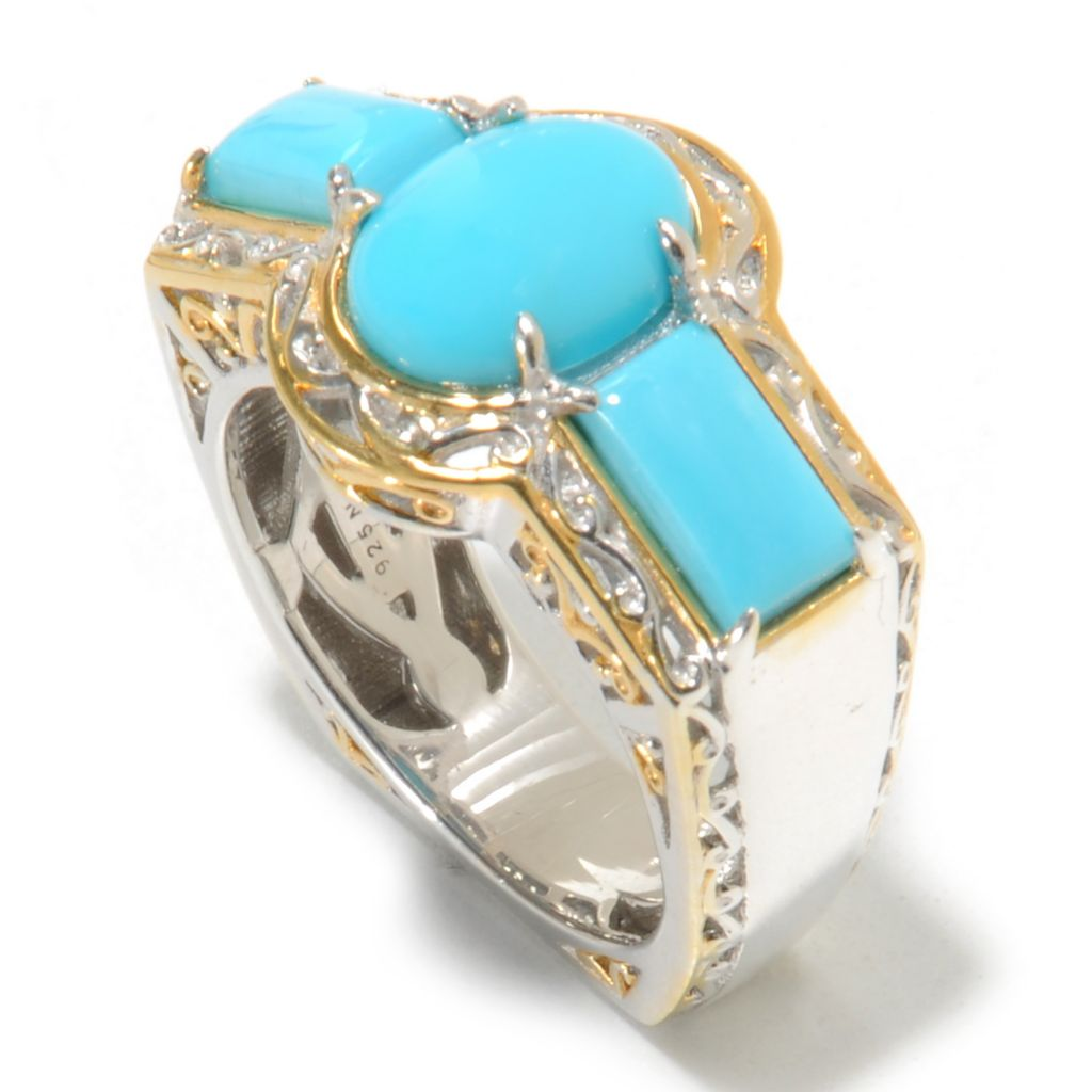 138-835 - Gems en Vogue Oval & Rectangle Shaped Sleeping Beauty Turquoise Ring